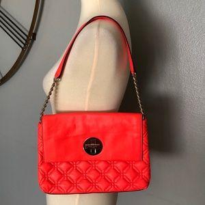 KATE SPADE Orange Quilted Leather Shoulder Bag